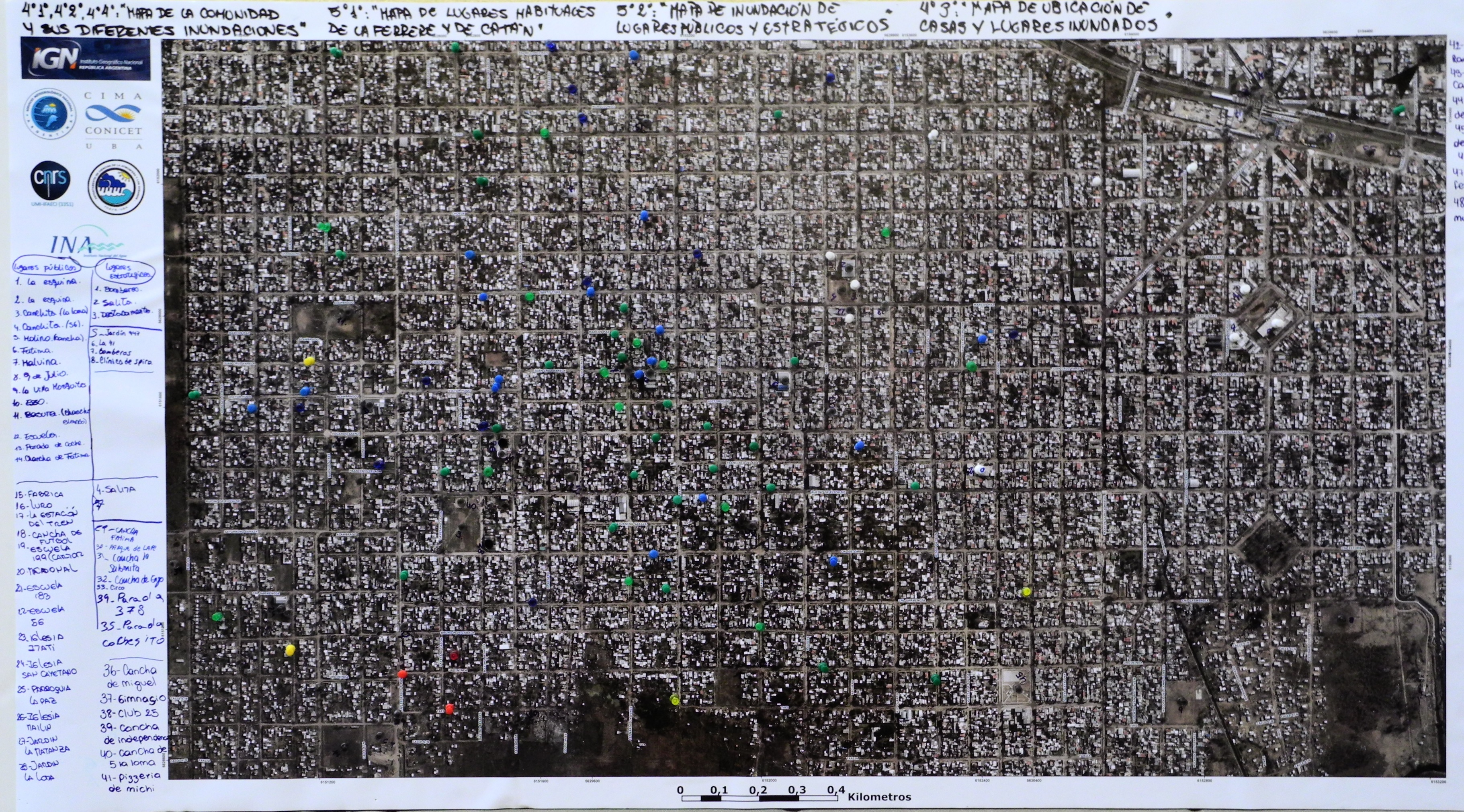 """""""Mapa de la comunidad y sus diferentes inundaciones"""" de la E.E.S n° 28 Prof. Juan C. Bruera, Gregorio de la Ferrere."""